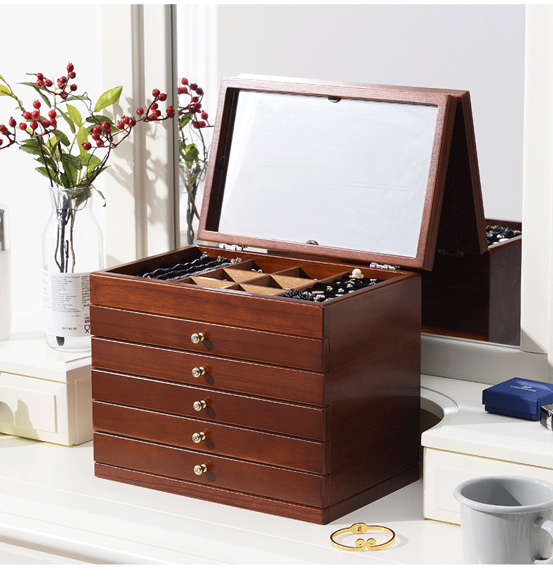 Large Wooden Jewelry Box/Jewelry Case Cabinet Ring Necklace Gift Storage Box Organizer