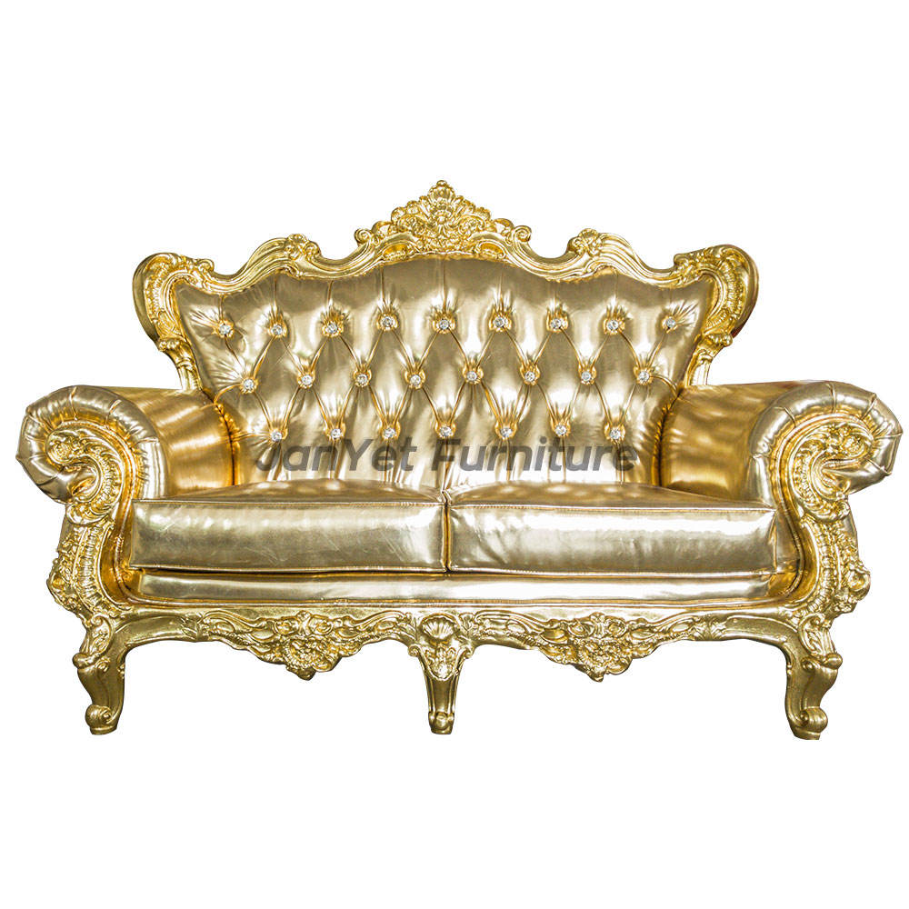 Luxury royal solid wood carved golden dubai leather sofa furniture