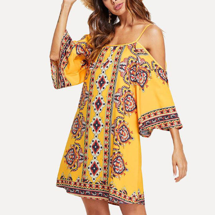 Long sleeve Women Bohemian Dress Hippie Clothing Maxi Beach Dress Women Summer Dress