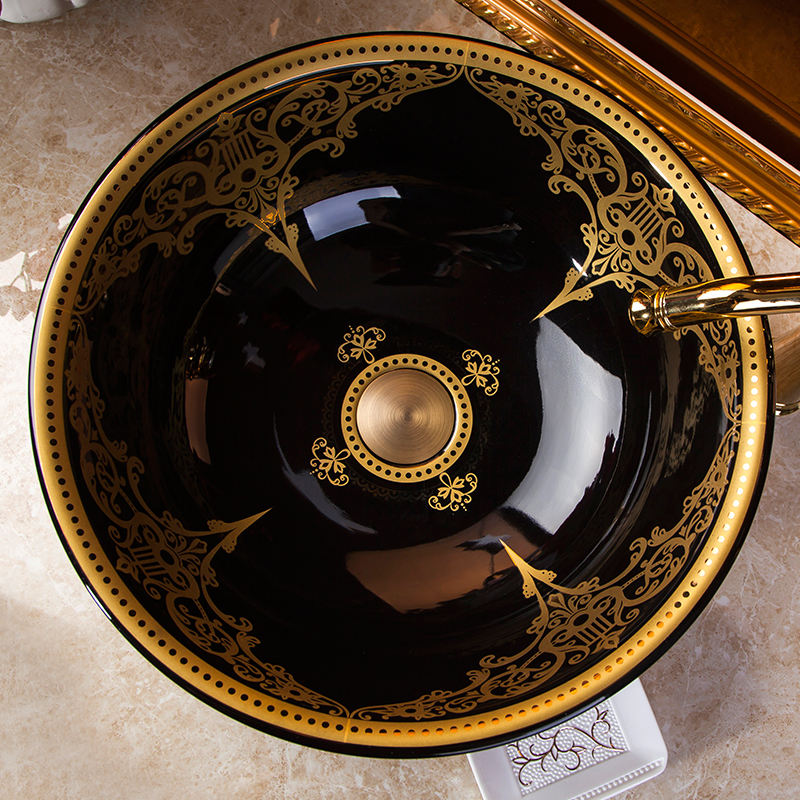 Round Jingdezhen ceramic sanitary ware art hand painted black with gold pattern ceramic wash basin Bathroom sink