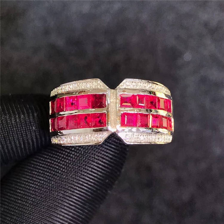 hot sale vintage Saudi gold jewelry wholesale 18k gold wedding band ring 1.16ct natural red ruby stone ring