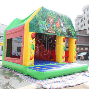Inflatable forest park animal cartoon bouncy castle with slide combo Jungle inflatable bouncer theme combo