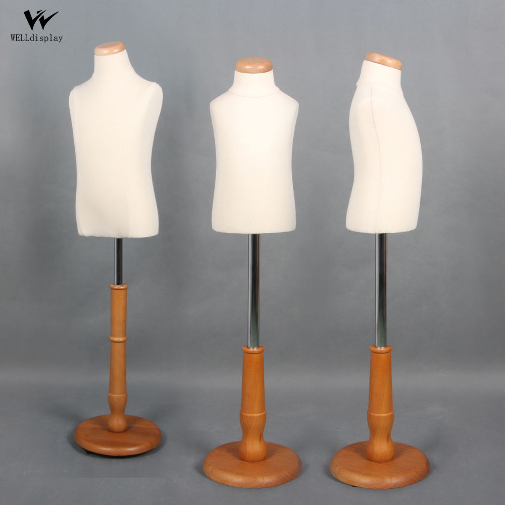 High quality white cotton children bust dress form dummy/mannequins with wooden base for kids clothing store