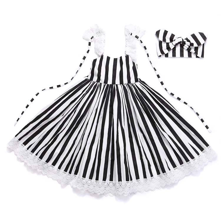 FLODR43 Black White Striped Dress Children's Clothing Exquisite Clearance Kids Clothing Children Girl Birthday Party Dress