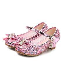 Girls Mary Jane Bow Low Heels Princess Dress Shoes Kids Shiny Wedding Party Shoes