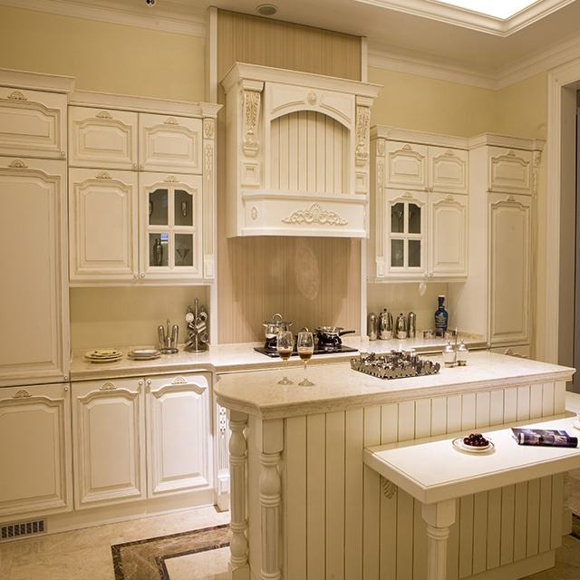 Vermonhouzz Country Luxury Style Modular White Solid Wood Kitchen Cabinet Design for Villa