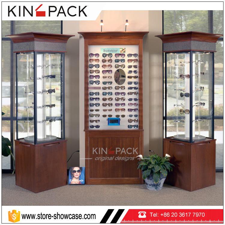 Venda quente de <span class=keywords><strong>madeira</strong></span> rotativa carrinho de exposição para a exposição da loja de óculos óptica