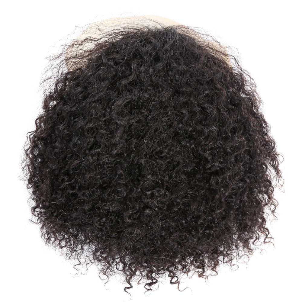 Premier Short Indian Human Hair Afro Toupee For Black Men