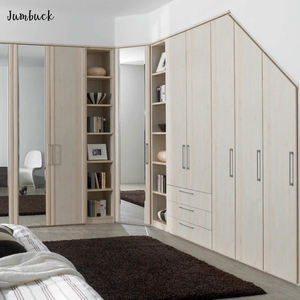 Built in wall Chinese closet furniture wardrobe cheap corner L shaped bedroom wardrobe