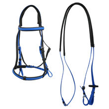 Weather Resistant PVC Equestrian Horse Riding With Single Nose Band Blue Color