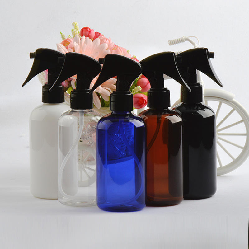 High quality 250ml round small mouse spray gun mist PET dispenser clear plastic spray bottle in China for flowering water