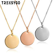 pendant necklace engraved round silver circle pendant necklace round disc necklace CY193