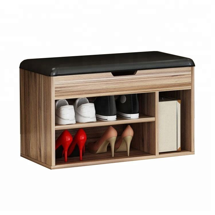 2019 hot saling modern wooden shoe cabinet bench