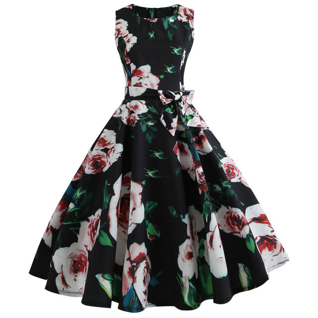 Plus Size Hepburn 50s 60s Summer Women Sleeveless Print Big Swing Vintage Dresses Floral Elegant Rockabilly Sundress