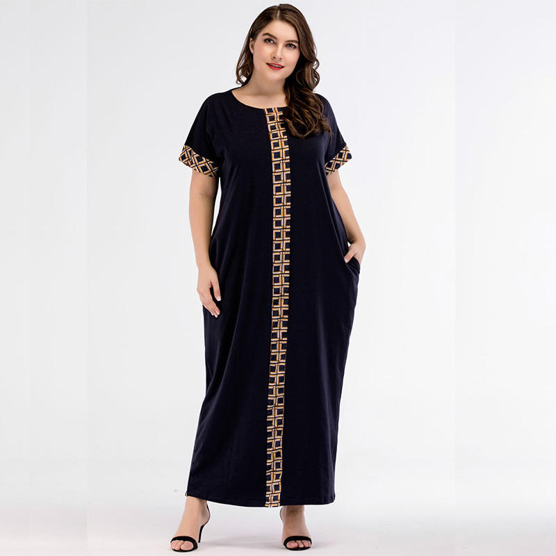 Middle Eastern Stitching Muslim Women Abaya Dress Arabian Loose Robes Fashion Solid Color Girl Short-sleeve Dress