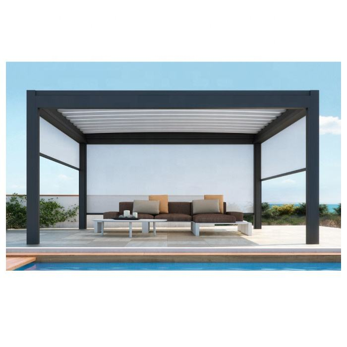 Bespoke Outdoor Modern Square Tube Garden Terrace Patio Gazebo Folding Louver Side Blinds Bioclimatic Aluminum Pergola Design