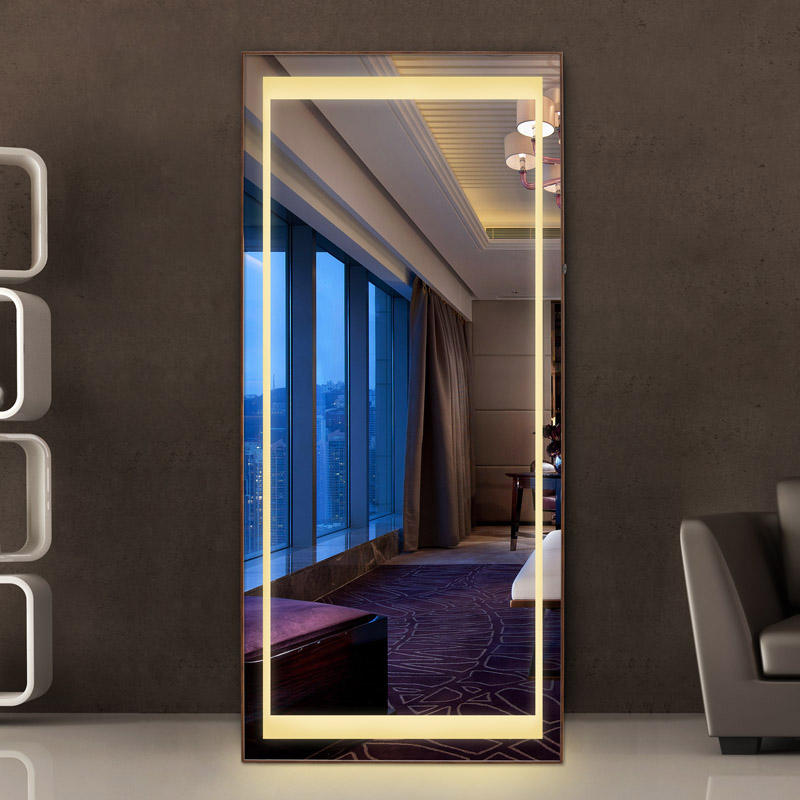 Wholesale LED Large Floor Standing Full Length beveled Mirror led mirrors decor wall