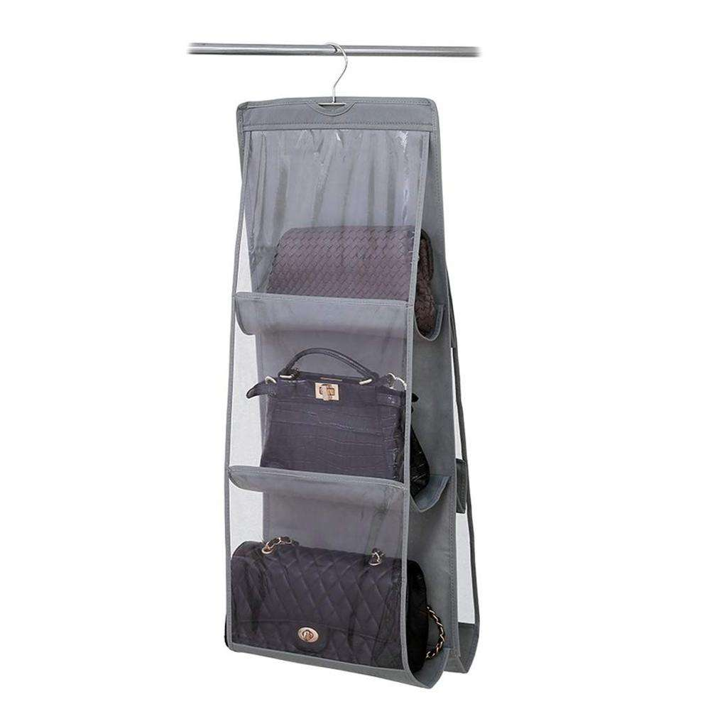 strong metal hanger durable non-woven fabric womens hanging handbag purse organizer