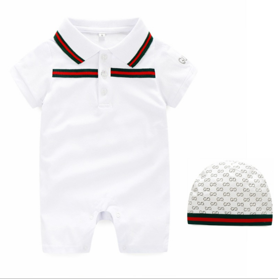 White color baby boy polo creeper 100% cotton bodysuit with rib collar and bee embroidery baby romper high quality 2 pcs and hat