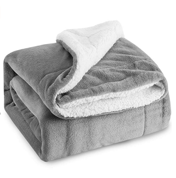 Sherpa Fleece Blanket Throw Size Grey Plush Throw Blanket Fuzzy Soft Microfiber Blanket