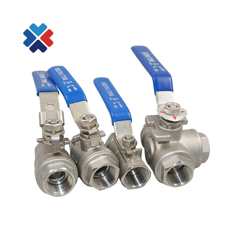 "SS 304 BSP 1/2""Female Threaded Stainless Steel three way 2pc Full Port Ball Valve"