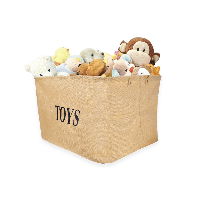 Custom Toys Holder Versatile organize bag home/ house tidy kids Toys storage bin jute Basket Container for Toys Organizer Box