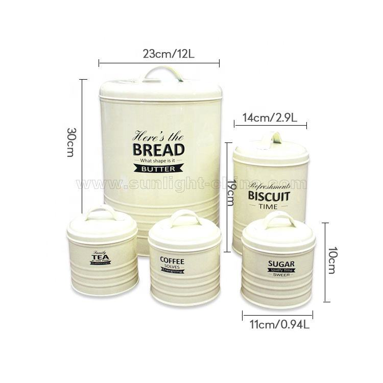Kitchen storage set vintage bread bin biscuit tea canister coffee container sugar box set in custom color
