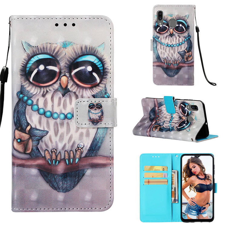 3D colored painting pu leather wallet cover mobile phone case for Huawei Enjoy 7