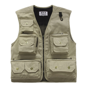Outdoor Breathable Multi Pocket Men Fashion Camera Vest for Fishing or Hiking