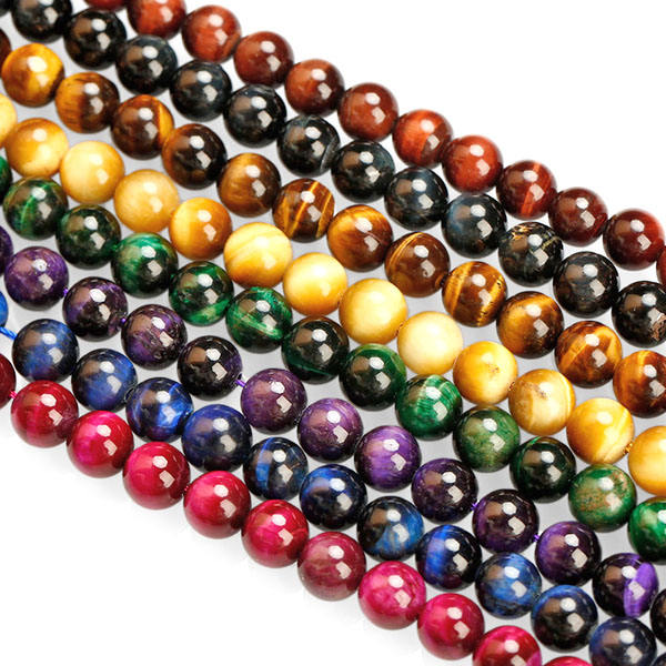 11 Kinds Of Colors Natural Gemstone Dyed Stone Tiger Eyes Polished Round Beads