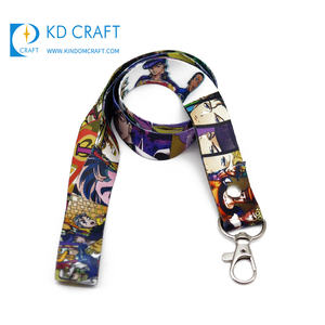 Gratis Monster Geen Minimum Order Ontwerp Uw Eigen Polyester Warmteoverdracht Gedrukt Cartoon Anime Custom Logo Lanyard