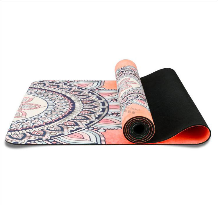 Eco Friendly Professional Organic Rubber Cork Grounded Memory Foam Velvet Grey Circle Chakra Yoga Mat