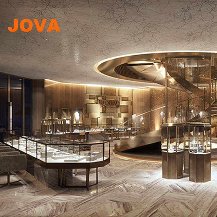 Modern Interior Design Jewelry Shop Glass Display Diamond Showcase Mdf Jewelry Cabinet Furniture