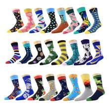 wholesale full custom cotton men colorful funny happy socks