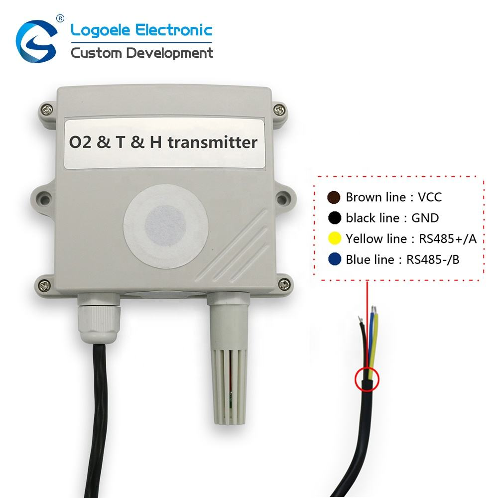LGS4O2T RS485 electrochemical temperature humidity sensor o2 oxygen gas detector
