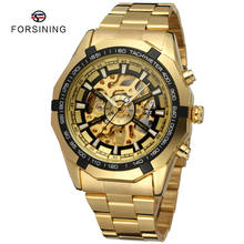 Forsining Brand Cheap Men'S Stainless Steel Gold Skeleton Automatic Mechanical Wrist Watch Mens Luxury