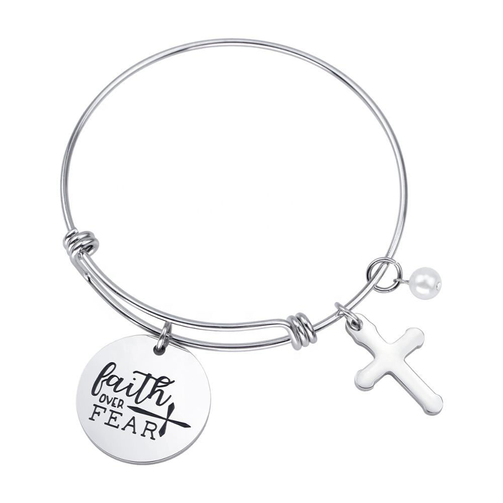 Loftily Jewelry Christian Bracelet Bible Verse Faith Over Fear Cross Charm Personalized Stainless Steel Adjustable bangle
