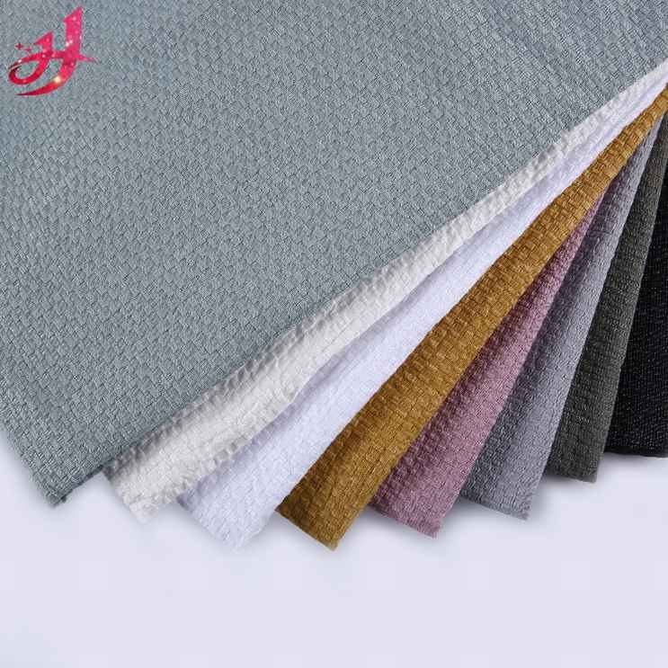 High quality plain dyed jacquard TC polyester cotton grey cloth woven waffle weave cotton fabric
