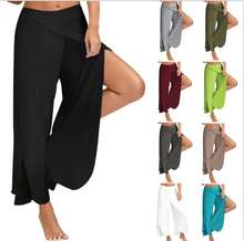 Ecowalson Soft Waist Split Wide Leg Dance Flare Pants Women Beach Loose Long Palazzo Harem Capri summer pants women