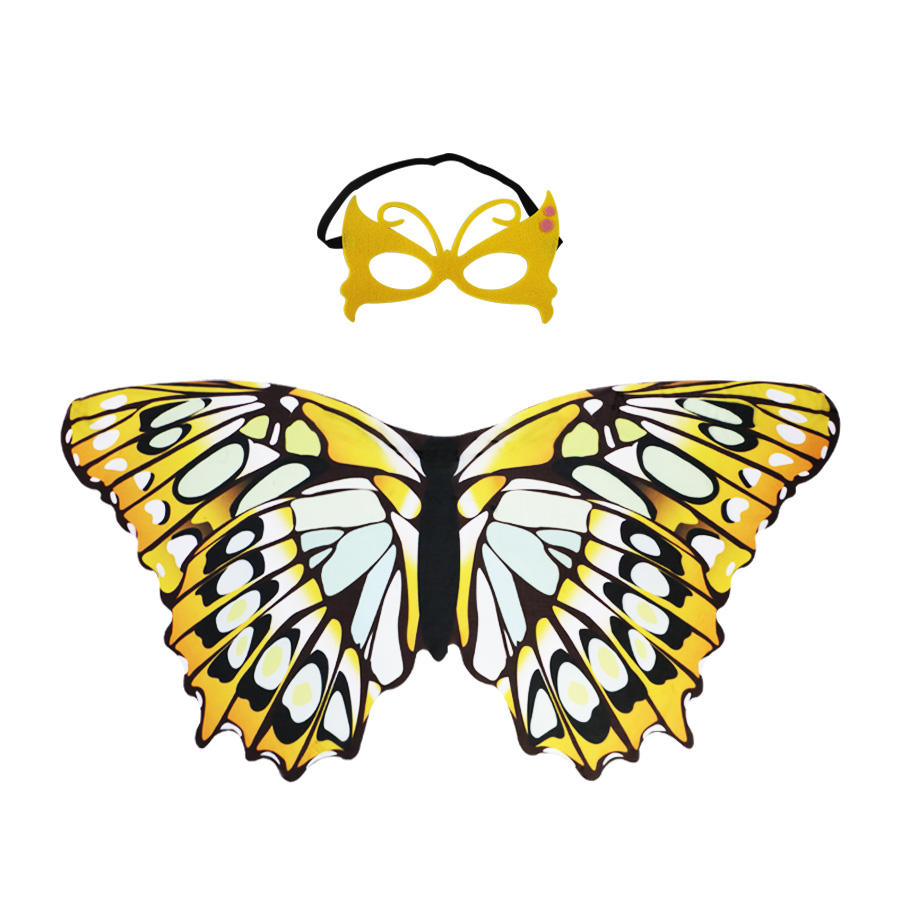 Yellow Butterfly Wing Capes With Mask For Kids Animal Birthday Party Decorations Family Party Cosplay Costume