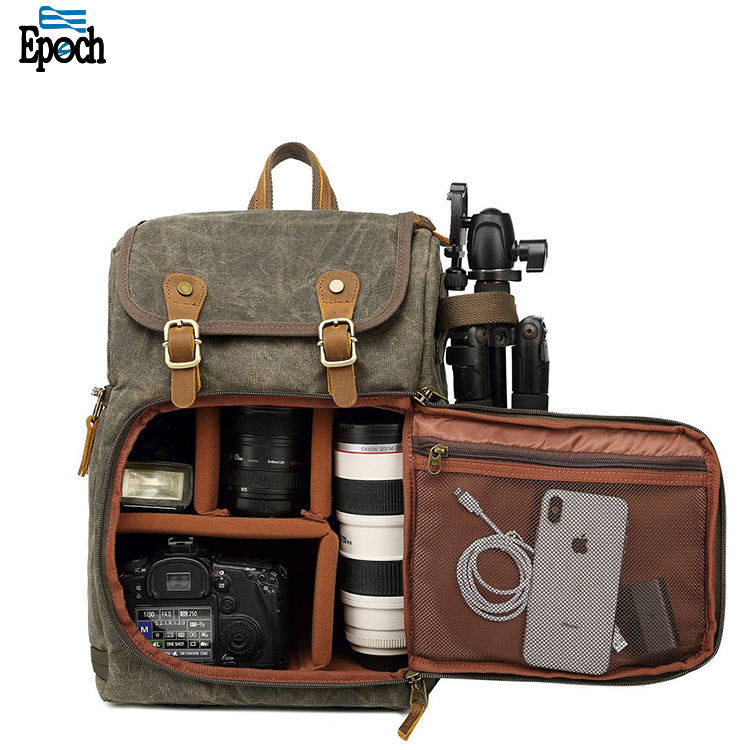 Large Capacity Front Open professional Anti-shock Canvas Waterproof dslr camera Backpack video camera bags