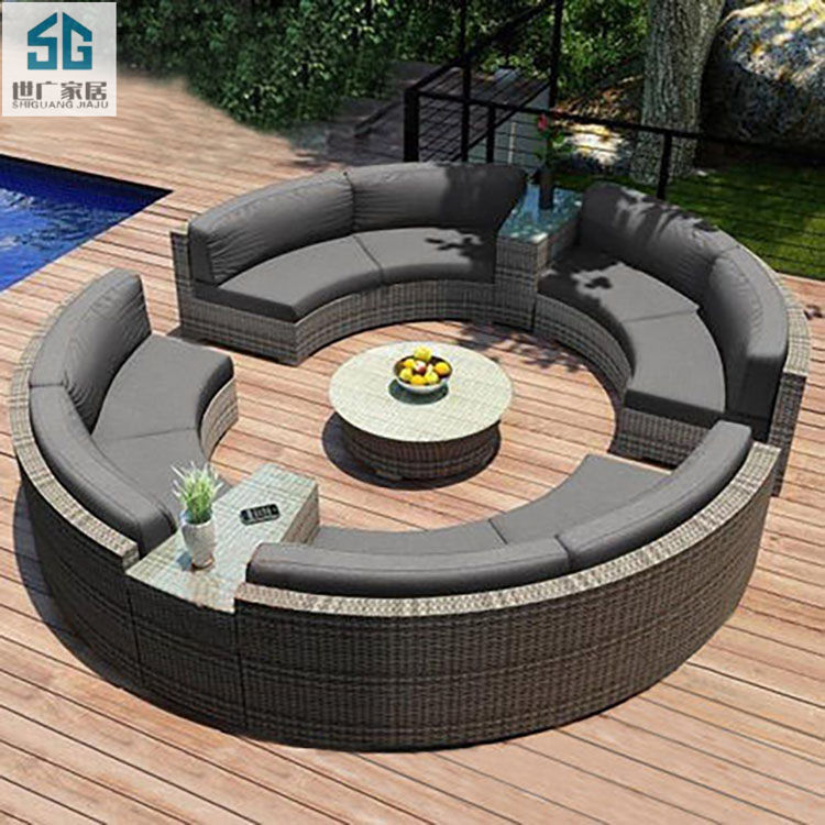 Custom outdoor leisure modern curved rattan furniture sofa