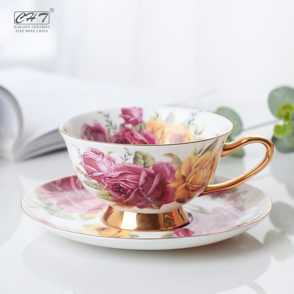 200ML personalized fine bone china porcelain coffee tea cappuccino cups set with saucer