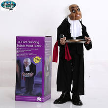 HALLOWEEN DECORATION STANDING BOBBLE HEAD BUTLER WITH RED LED EYES, SOUND