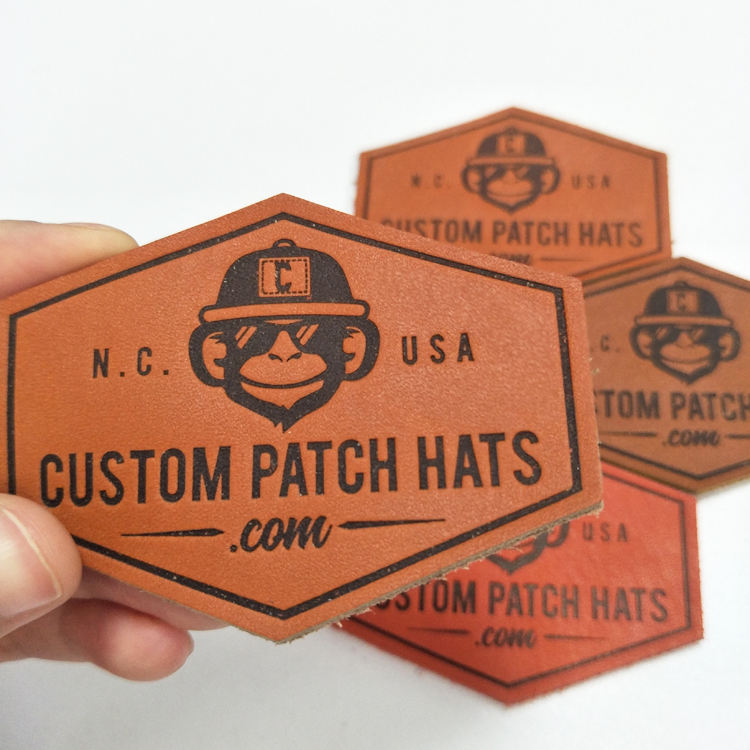 Custom PU Faux/Genuine Embossed Logo Leather Embroidery Hat Patch,Sew On Leather Label For Clothing, Leather Patch With Logo