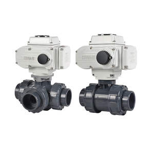 COVNA DN50 2 inch 2 Way Full Port 12V DC Electric Actuated PVC Plastic True Union Motorized Ball Valve