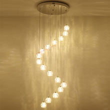 2019 home decor double rotary latest design loft jump floor hanging lamp simple linear glass drops modern staircase chandelier