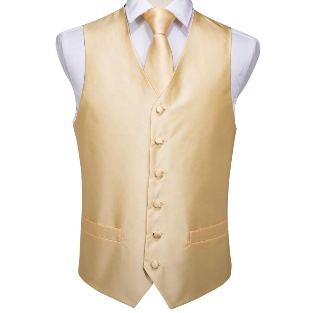Wholesale Silk Gold Yellow Plain Vest Tie Pocket Square Mens Waistcoat Set