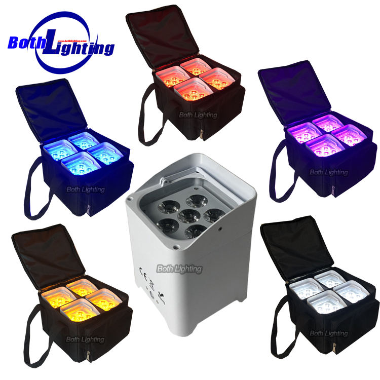 6x18w RGBWA UV 6in1dj up lighting battery powered wireless dmx led flat par light