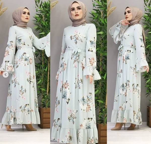 New Dubai Kaftan Arab Long Floral Muslim Kimono Dress Mubarak Islamic Clothing Abaya Women